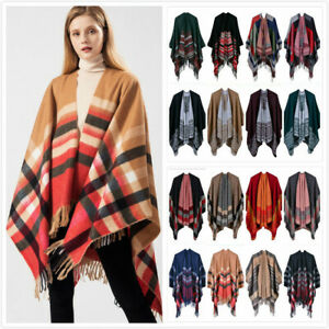 Womens Fashion Ladies Knitted Open Poncho Cape Blanket Winter Tassels Wrap Shawl