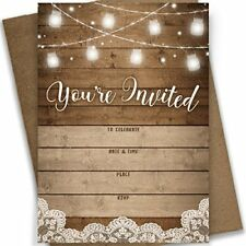 You're Invited! | Rustic Fill in Party Invitations 25 Invites and Envelopes