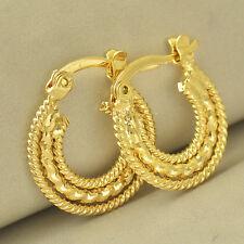 Womens Huggie Dainty 9K Yellow Gold Filled Embossed Hoop Earrings Small
