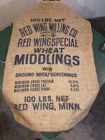 Vintage Red Wing Milling Co Wheat Middlings Burlap Feed Sack Bag Minnesota MN