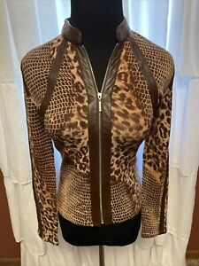 Womens Size Small Alberto Makali Top/Blouse Leopard Print Leather Trim Browns