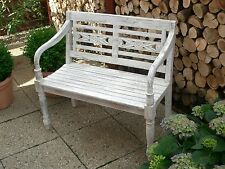 Gartenbank Holz Teak massiv,2-Sitzer Bank, Antik-Look Shabby /Weiß/WHITEWASHED