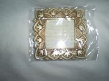 "Pale Gold Color Sq. Frame 3.75""Wx3.5""T-Easel Back-Photo Sz. 2.4""x2.4""-Ornate"