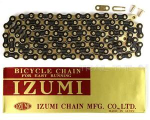 IZUMI 1//2x1//8 116L Cycling Bicycle Chain For Easy Running Jet Black Silver//Gold