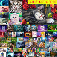 Cat 5D DIY Full Drill Diamond Painting Cross Stitch Embroidery Kit Art Decor