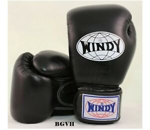 WINDY BOXING GLOVES ALL BLACK BGVH 20 oz.SPARRING  MUAY THAI MMA K1