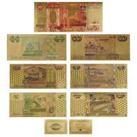 WR Farbe Gold Banknoten-Set 7 Stück Russischer Rubel Geld Sammler Geschenk-Idee