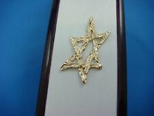 """14K YELLOW GOLD LARGE """"STAR OF DAVID"""" NUGGET FREE STYLE PENDANT, 5 GRAMS"""