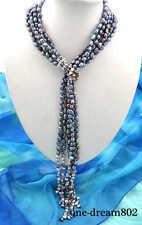 """black Fw pearl necklace Attractive 3item 58"""" 10mm baroque"""