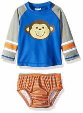 Kiko & Max Boys Rashguard and Diaper Cover Swim Set, Blue Monkey, Medium