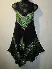 Dress Fits L XL 1X Plus Sundress Black Green Batik Crochet Lace A Shaped NWT 575