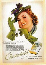 post card Vintage style advertising #145 CHESTERFIELD glove smoking pleasure