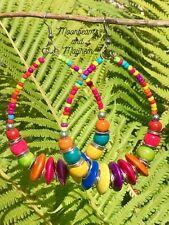 FABULOUS LARGE RAINBOW BEADED EARRINGS BOHO HIPPIE FESTIVAL GYPSY BRACELET RING