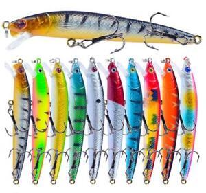 10PCS Fishing Lures Crankbait Wobblers With 10# Hooks Artificial Swimbait Peche