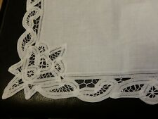 12 Vintage White Napkins with Tape Lace  Decoration - Linen & Cotton UNUSED-NEW