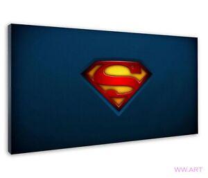 Superman Logo Emblem Imprinted Over Dark Blue Canvas Wall Art Picture Print