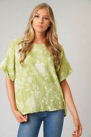 LADIES ITALIAN QUIRKY LAGENLOOK FLORAL LINEN MIX LIGHTWEIGHT CASUAL SHORT TOP