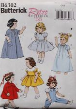 "18"" GIRL DOLL CLOTHES Butterick Retro Sewing Pattern 6302 American Made NEW"