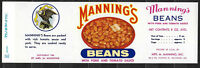 Vintage 1940's Manning's Beans Can Label - Baltimore, MD