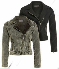 Women's Denim Zip Biker Coats & Jackets