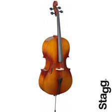 Stagg VNC-4/4-L Full Size Spruce Top Cello - Natural with Gig Bag, Bow and Rosin