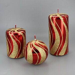 Red Gold Spiral Candles