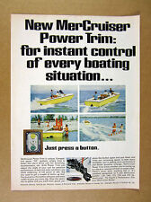1968 Mercury MerCruiser Power Trim Feature yellow boat photo vintage print Ad