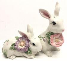 Fitz and Floyd Bunny Salt/Pepper Set Flora And Fauna