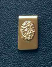 VINTAGE OLD STOCK NEW GOLD NUGGET CENTER MONEY CLIP GOLD PLATED