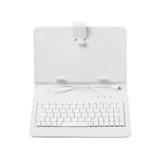 """White Leather 10.1"""" / 10"""" Tablet Case + Micro USB Keyboard Android - UK STOCK!"""