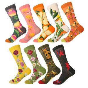 Girls Womens Cotton Socks Fancy Creative Colorful Flower Casual Dress Gift Socks