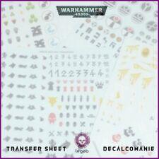 WARHAMMER 40,000 TRANSFER SHEET GAMES WORKSHOP ACCESSORIES