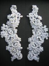 Blanco con cuentas lentejuelas Apliques Bordados X 2 sewing/costume/bridal / Victoriano
