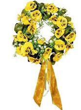 wandkranz mit gelben stiefmütterchen 28 cm künstlich türkranz