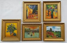 Lotto 5 Dipinti Olio con Cornice - 20x25 cm. - Quadri Van Gogh Monet