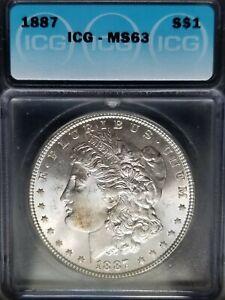 1887 Morgan Silver Dollar ICG MS63