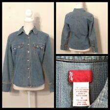 Levi's Jeans Perle Snap Chemise Femmes Moyen Bleu, Sawtooth Poches Inv #S9595