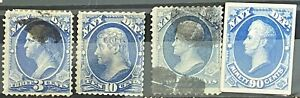 1873 US Stamps Dept of Navy official small Die Proof on Card 90c plus 3 others