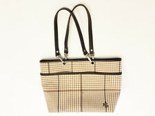 369161224fde RALPH LAUREN Womens Open Top Fabric Handbag Bag Tote Purse Plaid Beige