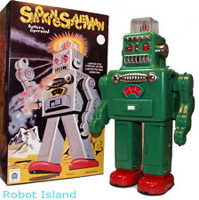 Smoking Spaceman Robot Tin Toy Battery Operated Green - SALE!
