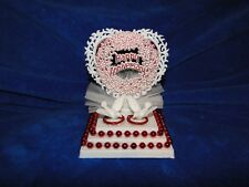 New Petite Happy Anniversary Caketopper with love Birds and Red decor Rings