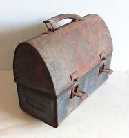 "Vintage Black Metal Lunch Box Primitive Condition 10.25"" FREE SH"