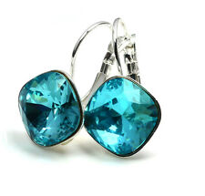 Silver Plated Earrings SHEENA *LIGHT TURQUOISE* 12mm Crystals from Swarovski®