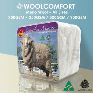 Aus Made Luxury Winter 100% Merino Wool Quilt Doona All Size 200/350/500/700GSM