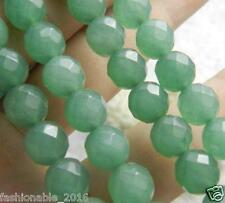 Faceted 8mm Green Emerald Gemstone Round Loose Bead 15''