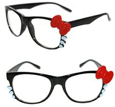 Women's Hello Kitty Eye Glasses Horn Rimmed Clear Lens Black Frame Red Bow