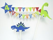 Handmade Personalised Cake Topper Birthday - Bunting Dinosaur Cake Decoration