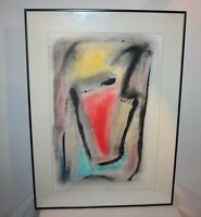 Original Vintage Abstract Water Color Painting Print Signed OSVWUC Framed Art