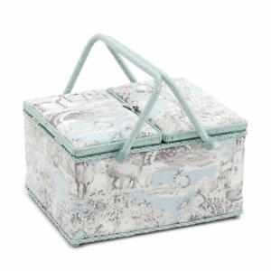 Sewing Basket Beautiful twin Lidded TOILE sewing box RRP £45 HALF PRICE SALE