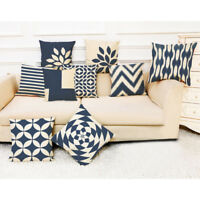 Dark Blue Striped Abstract Geometric Pillow Cases Sofa Home Decor Cushion Covers